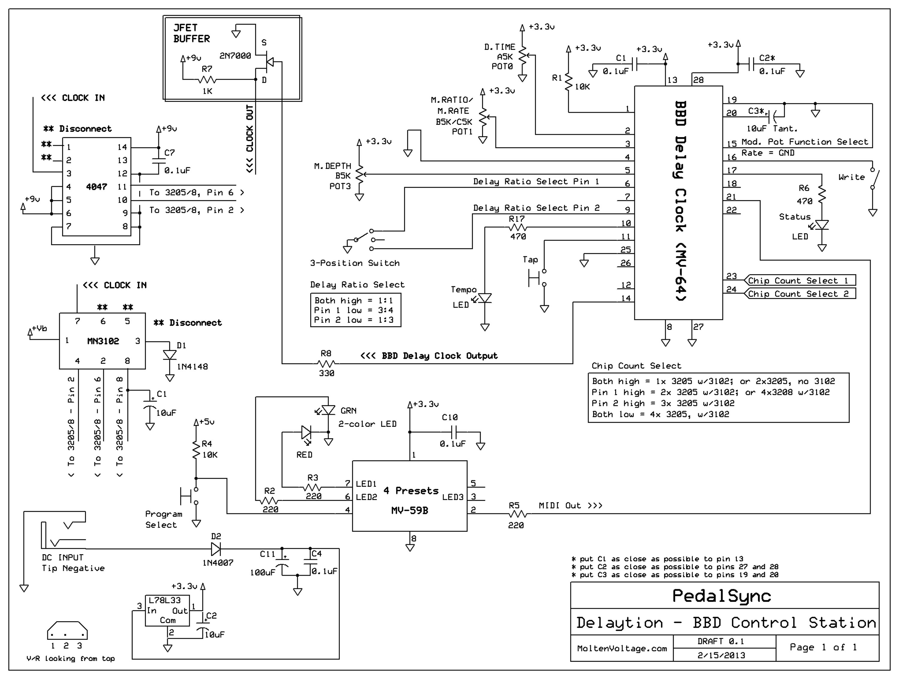Delaytion Tutorial Analog Delay Controller W Pedalsync Bbd Circuit Schematic Diagram Get Free Image About Wiring Click This Link For The Which Includes A Chip Select